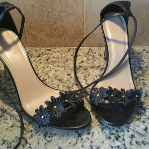 J Crew Black Sandals with Flower Accents